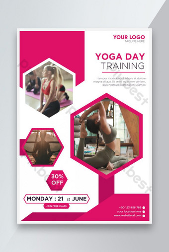 International yoga day training fitness Meditation Flyer and Poster design Template EPS