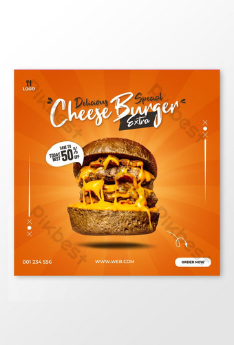 Makanan Burger Keju Khas yang Delicious untuk Banner Pos Media Sosial Templat PSD