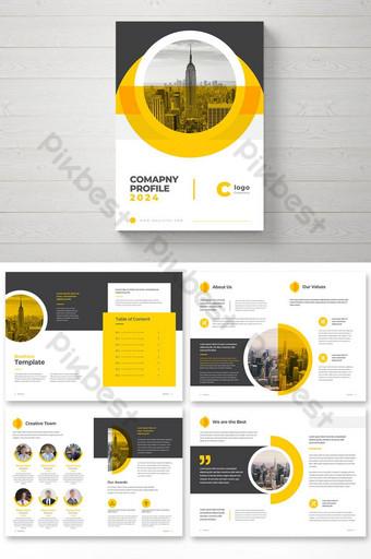 Минимальная компания Профиль компании Брошюра Шаблон дизайна с желтыми формами шаблон EPS