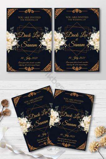 Conception de modèle de carte d'invitations de mariage de luxe Modèle PSD