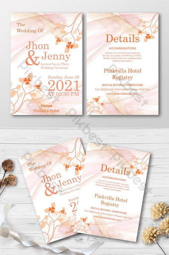 Modèle de carte d'invitation de mariage floral Modèle AI