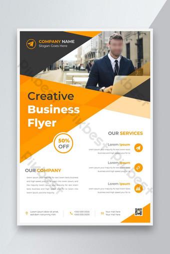 Modèle de conception de flyer commercial d'entreprise avec dépliant de marketing numérique couleur jaune Modèle AI