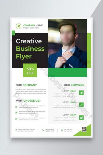 Modèle de conception de nouveaux déplacements commerciaux d'entreprise avec dépliant de marketing numérique couleur vert Modèle AI