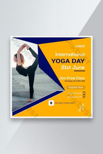 International Yoga Day Social media banner template post design Template PSD