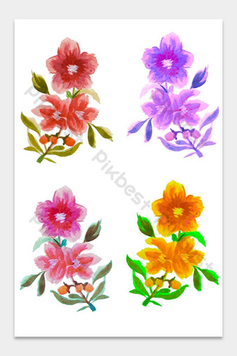 Fleurs aquarelles Éléments graphiques Modèle PSD
