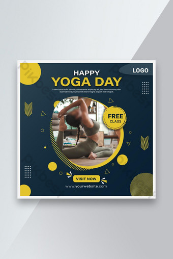 Happy Yoga Day Social Post Template AI