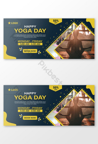 Happy Yoga Day Facebook Cover Template AI