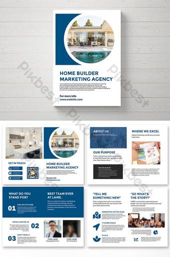 Badan Pemasaran Builder Rumah BI Lipat Templat Brosur Templat AI