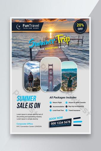 Flyer de voyage d'été créatif Modèle PSD