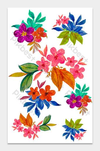 Màu nước vẽ tay hoa 1 Công cụ đồ họa Bản mẫu PSD