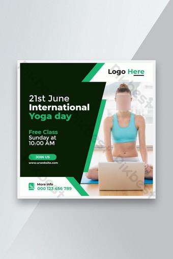 International yoga day social media post and website banner design Template PSD