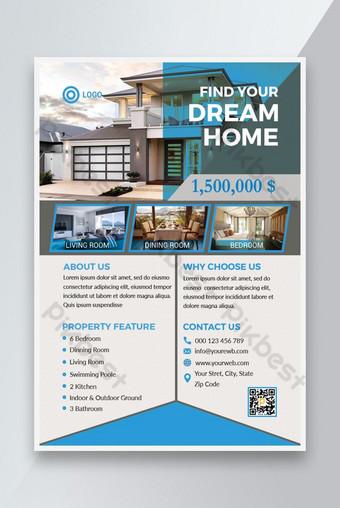 Modèle de flyer immobilier attrayant pour trouver votre maison de rêve Modèle PSD
