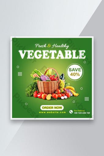 Fresh Santé Légumes Vente Bannière Social Media Post Modèle PSD Modèle PSD