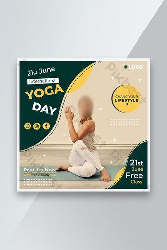 International Yoga Day Soical Post Template PSD