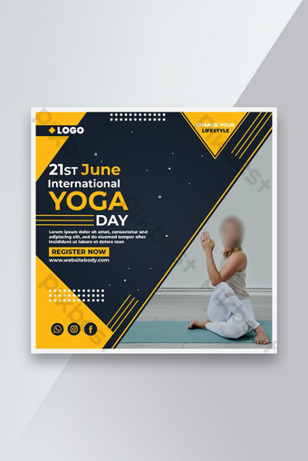 International Yoga Day Social Post Template PSD