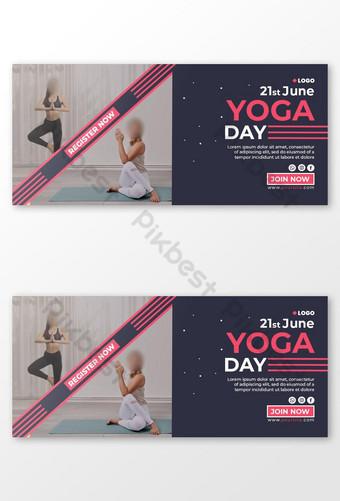 Yoga Day Facebook Cover Template PSD
