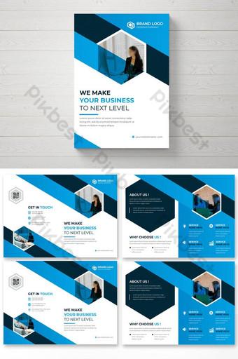 BISNIS PERUSAHAAN BI Lipat Brosur Leaflet Booklet Desain Template Templat AI