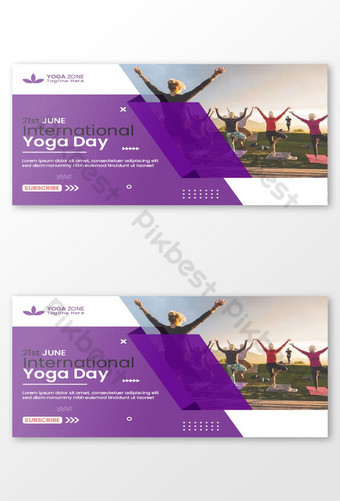 International Yoga Day Youtube Thumbnail Design and Web banner Template EPS