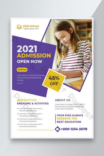 Creative School Admission Flyer Modèle de conception A4 Taille et impression Prêt Modèle EPS