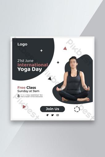 Unique Yoga Day Social Media Sale Banner Template AI