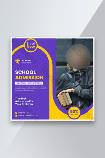 Retour à l'école Media Social Post Bannière et Flyer carré Modèle EPS