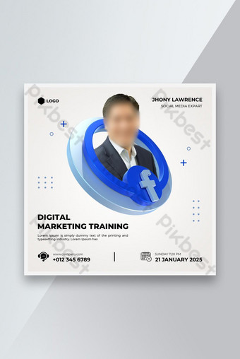 Pelatihan Pemasaran Digital Media Sosial Post Template Desain Templat PSD