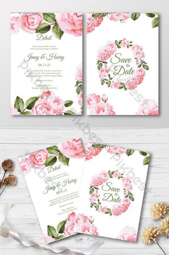 Ensemble de cartes d'invitation florale aquarelle Modèle AI