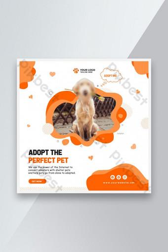 Modèle de bannière des médias sociaux d'adoption pour animaux de compagnie Modèle PSD