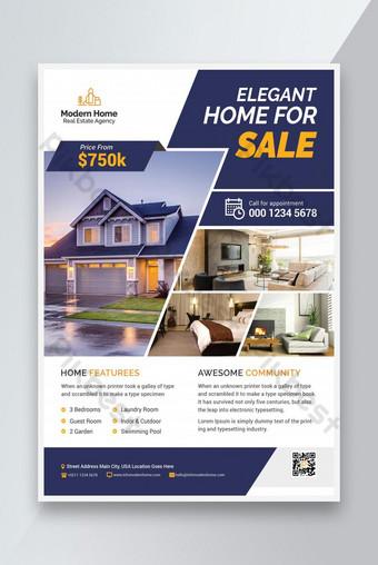 modèle de conception de flyer immobilier à domicile élégant Premium Modèle PSD