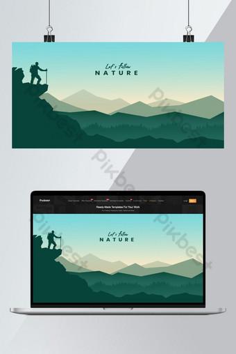 Beautiful arrière-plan nature paysage illustration Fond Modèle AI