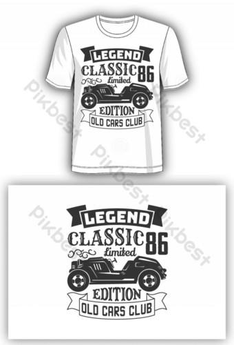 legenda edisi terbatas klasik mobil tua klub t shirt desain Elemen Grafis Templat EPS