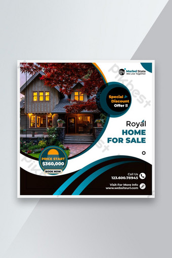 Penjualan Rumah Real Estat atau Sewa Media Sosial Posting Premium Desain PSD Template Mudah Templat PSD