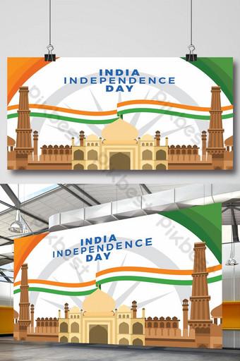 الهند يوم الاستقلال راية الراية مع معارغ تمثل التوضيح المسطح قالب EPS