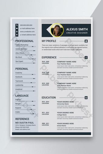 Desain template resume CV profesional modern dan bersih untuk kemenangan pekerjaan apa pun Templat AI