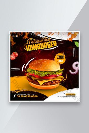 Burger Food Menu Promotion Médias Social Media Instagram Modèle de bannière Premium PSD Modèle PSD