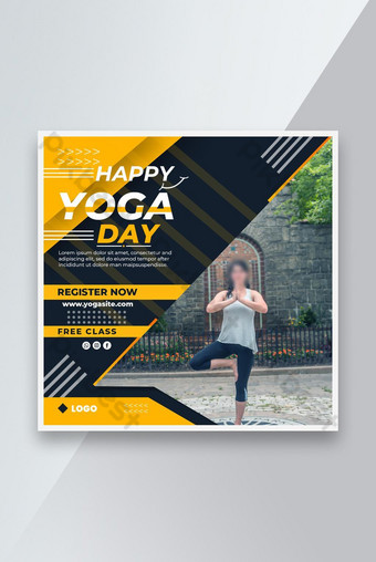 Happy Yoga Day Social Post Design Template PSD