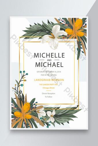 Modèles d'affiche de la carte de mariage Design de décor floral Modèle AI