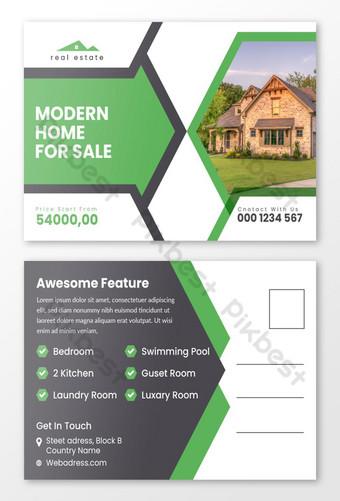 Modèle de conception de carte postale créative immobilier Modèle EPS