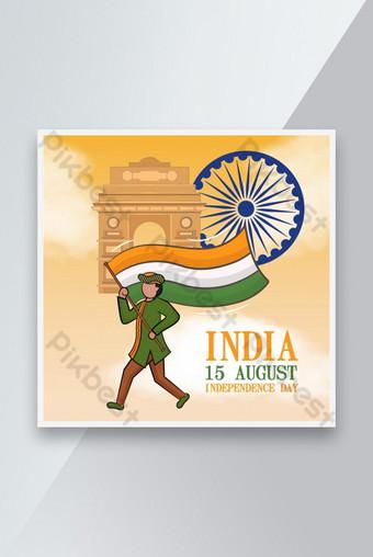 وسائل الإعلام الاجتماعية الهند الاستقلال يوم راية تصميم تصميم قالب AI