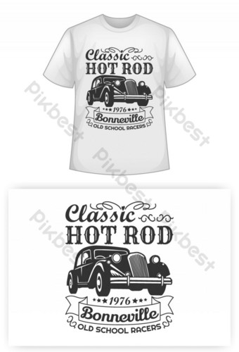 Klasik Hot Rot Bonneville Old School Racers T Shirt Desain Elemen Grafis Templat EPS