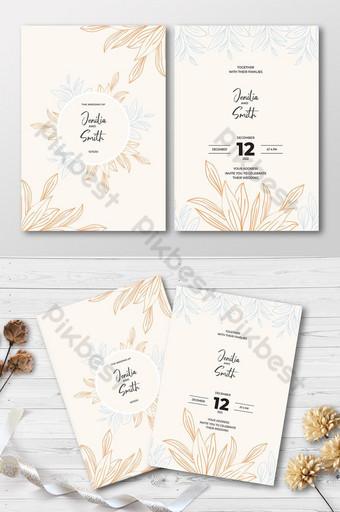 Modèle de carte d'invitation de mariage de style floral de style floral Modèle AI