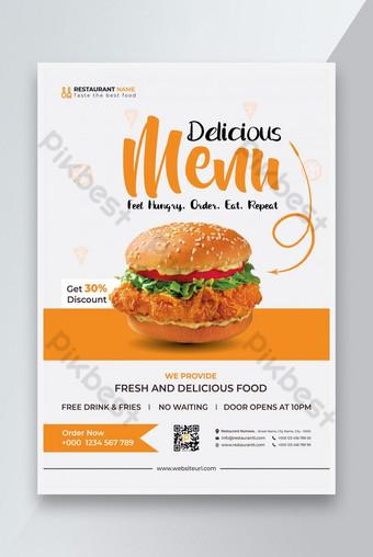 Templat Food Flyer Atau Restoran Flyer Desain Burger Sale Flyer Template Design Templat EPS