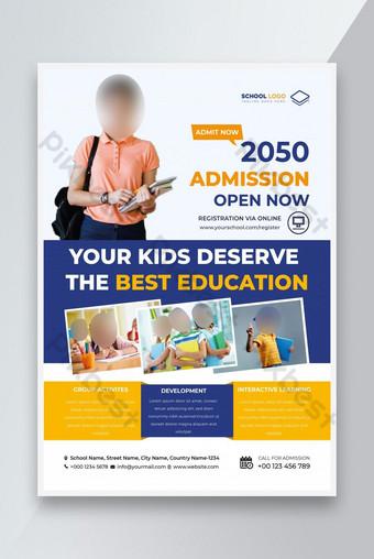 Modèle d'école Flyer Modèle d'admission de l'école Design Modèle de dépliant Modèle EPS