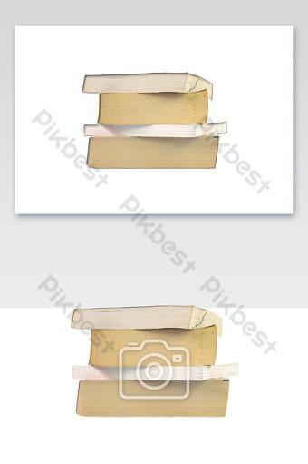 Groupe de gros plan de livres épais empilés isolé sur fond blanc Éléments graphiques Modèle PNG