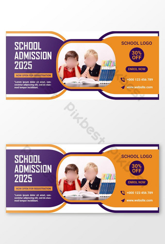 Modèle de bannière de la couverture Facebook d'admission de l'école pour enfants Modèle AI