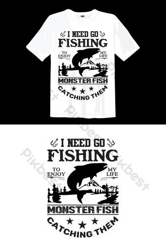 Ikan t shirt desain vektor ikan Elemen Grafis Templat EPS