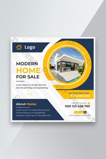 Moderne immobilier Maison à vendre Modèle Square Poste ou Flyer Instagram Modèle EPS