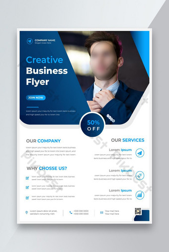 Modèle de conception de flyer de nouveaux entreprises d'entreprise avec une couleur numérique de couleur bleue Nouveau dépliant Modèle AI