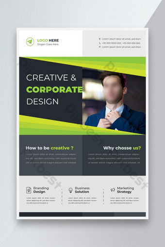 Modèle de conception de flyer d'entreprise moderne d'entreprise avec flyer de marketing numérique de couleur vert Modèle AI