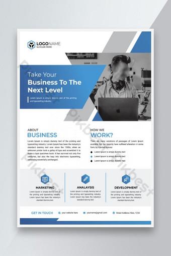 Conception de modèle de flyer d'entreprise moderne d'entreprise avec des accents bleus Modèle EPS